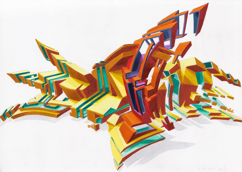 """DAIM - Explosion"" | marker on paper | 29,7 x 42 cm | 1997 © DAIM"