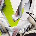 ''Slice of DAIMmonomania'' | Spraypaint on aluminium plate | 205 x 125 x 1,5 cm / 80.7 x 49.2 x 0.6 inch | 2016 | © Mirko Reisser (DAIM) | Courtesy: Sammlung Fahrni | Photo: MRpro