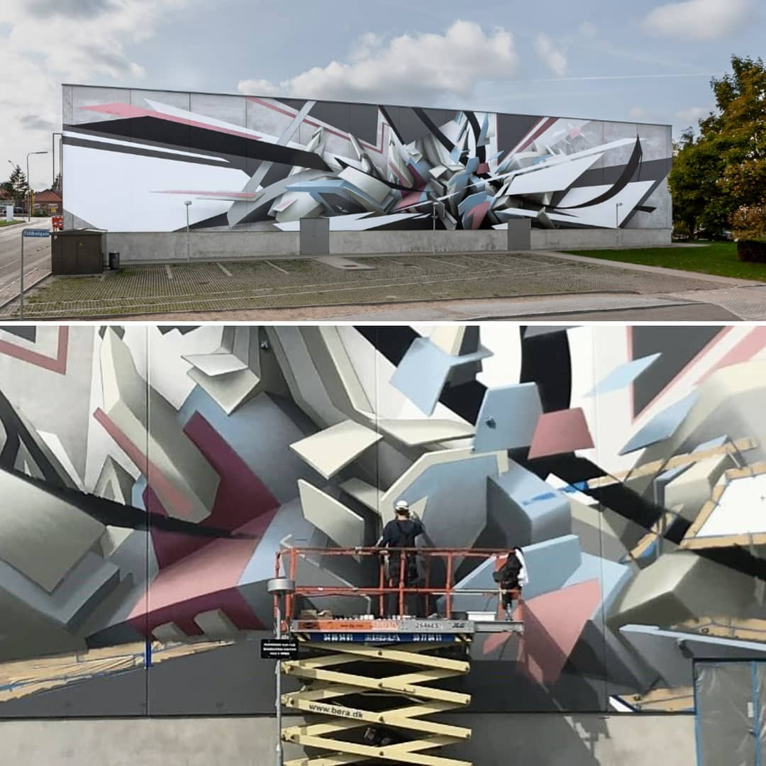 Mirko Reisser (DAIM) | ''DAIM - coming out Næstved'' | Spraypaint and facade paint on concrete wall | 7,6 x 41 m / 299.21 x 1614.17 inch | Næstved / Denmark | 2018 | © Mirko Reisser (DAIM) | Courtesy: NÆSTVED KUNSTBY | Photo: MRpro & Claus Pedersen