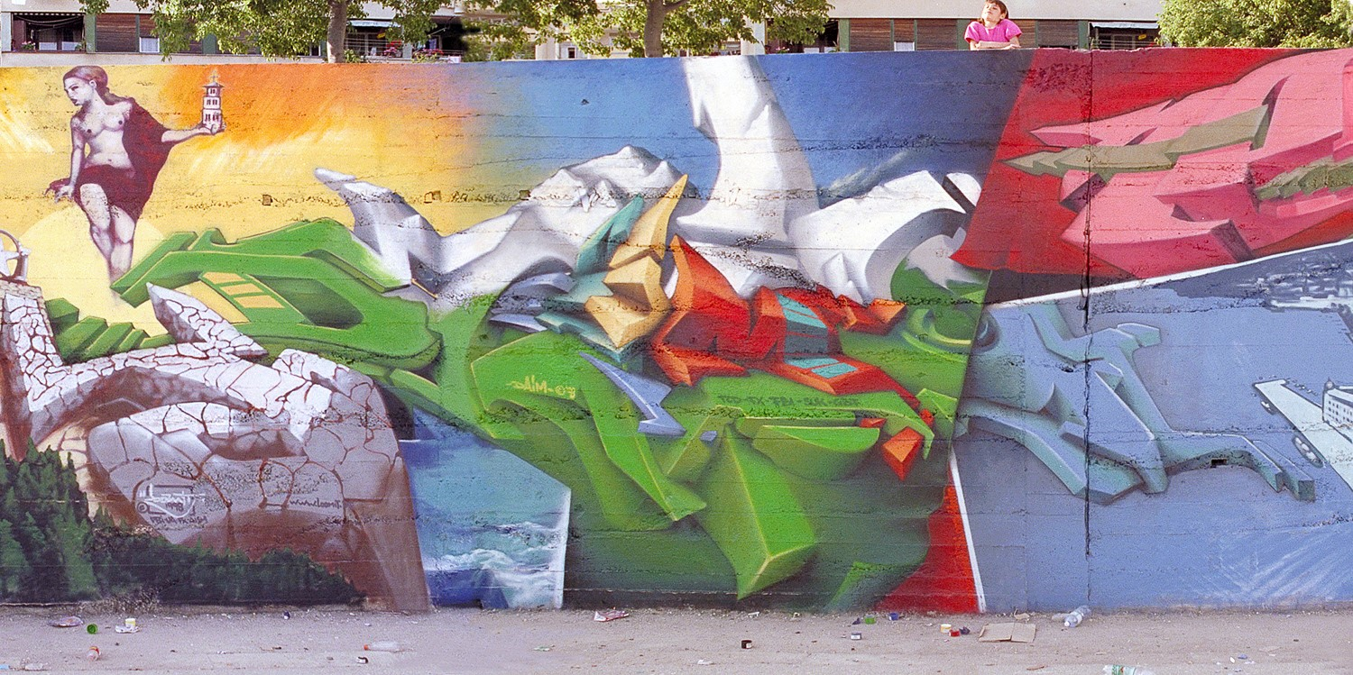 Splitt / Croatia | 1998 | © DAIM (part of a wallpainting together with 2Fast, Baba, Lunar, Seemso, Loomit, Neck, Moritz, Crone, B SEa, Sener, Senk 1)
